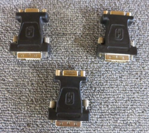Joblot 3 x VisionTek IM1YB4116 DVI To VGA Male To Female Cable Adapter Black